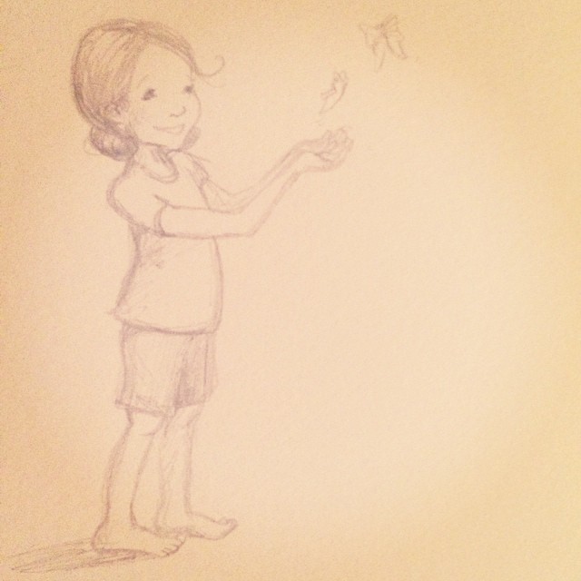Sketching away. Here's to little dreams taking flight, to fragile-strong wings, to new beginnings.