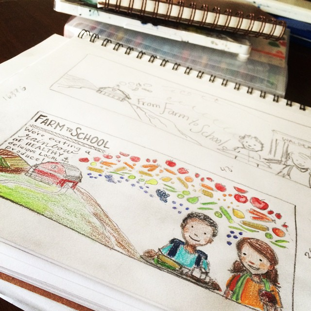 Working away on concepts for our  local Farm to School program. So much fun!