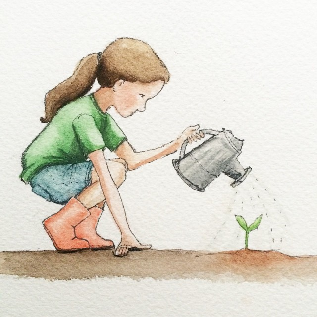 Planting seeds in watercolor today. Grateful for a friend who reminded me to paint for the love.