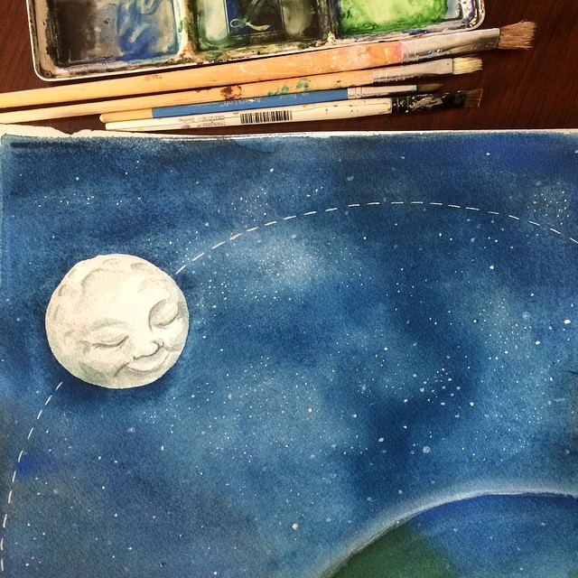 Working on illustrations this morning for a sweet (child-written!) story about a friendly old moon and lost little star. Who knew painting hundreds of little dots could be so fun?
